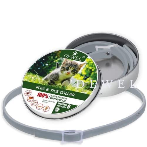 DEWEL Collar Antiparasitos para Gatos contra Pulgas,Garrapatas y Mosquitos,Tamaño Ajustable e Impermeable para Mascota Pequeño Mediano Grandes Versión Mejorada de Aceites Esenciales Naturales (C)