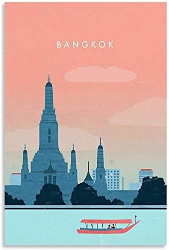 REGF Cuadro del Cartel 60x90cm Sin Marco Póster de Postal de Bangkok y Arte de Pared con impresión de Imagen Moderna decoración de habitación Familiar