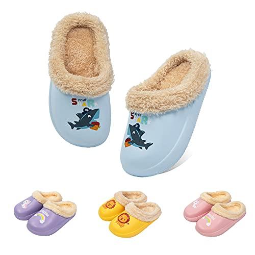 Guyarns Zapatillas de Estar por Casa para Niñas Niños Invierno Zapatillas de Interior Casa Caliente Pantuflas Suave Calentar Antideslizante Slippers(Azul,180mm)