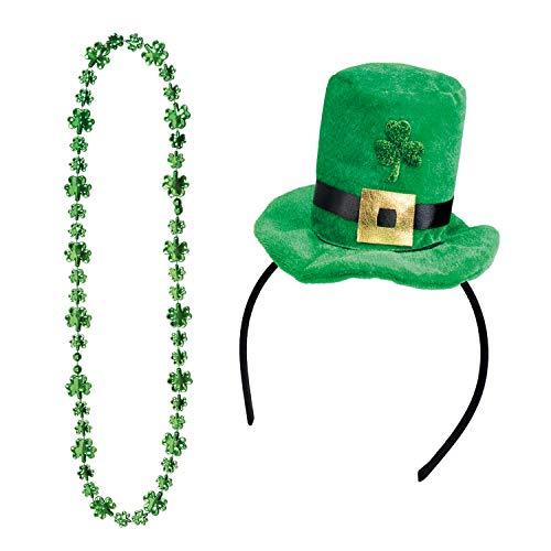 com-four® Leprechaun, Kobold Kostüme zum St. Patricks Day - Outfits und Accessoires für das grüne, irische Fest - Für Fasching, Fastnacht, Karneval, Parade, Motto-Party, Irish Pub (04-teilig - Set10)
