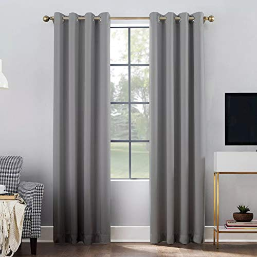 Shreem Linen Blackout Curtains for Bedroom - Grommet Thermal Insulated Room Darkening Curtains for Living Room, Set of 2 Panels (60 inches Wide x 63 inches Long), Light Grey Solid