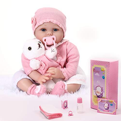 KKI Muñecas Reborn, Bebé Reborn de 55 cm Muy Realistas con su Osito, Muñecas Niña Reborn100% Hechas a Mano de Vinilo de Silicona Soft, Regalo de Crecimiento Infantil(EN71)