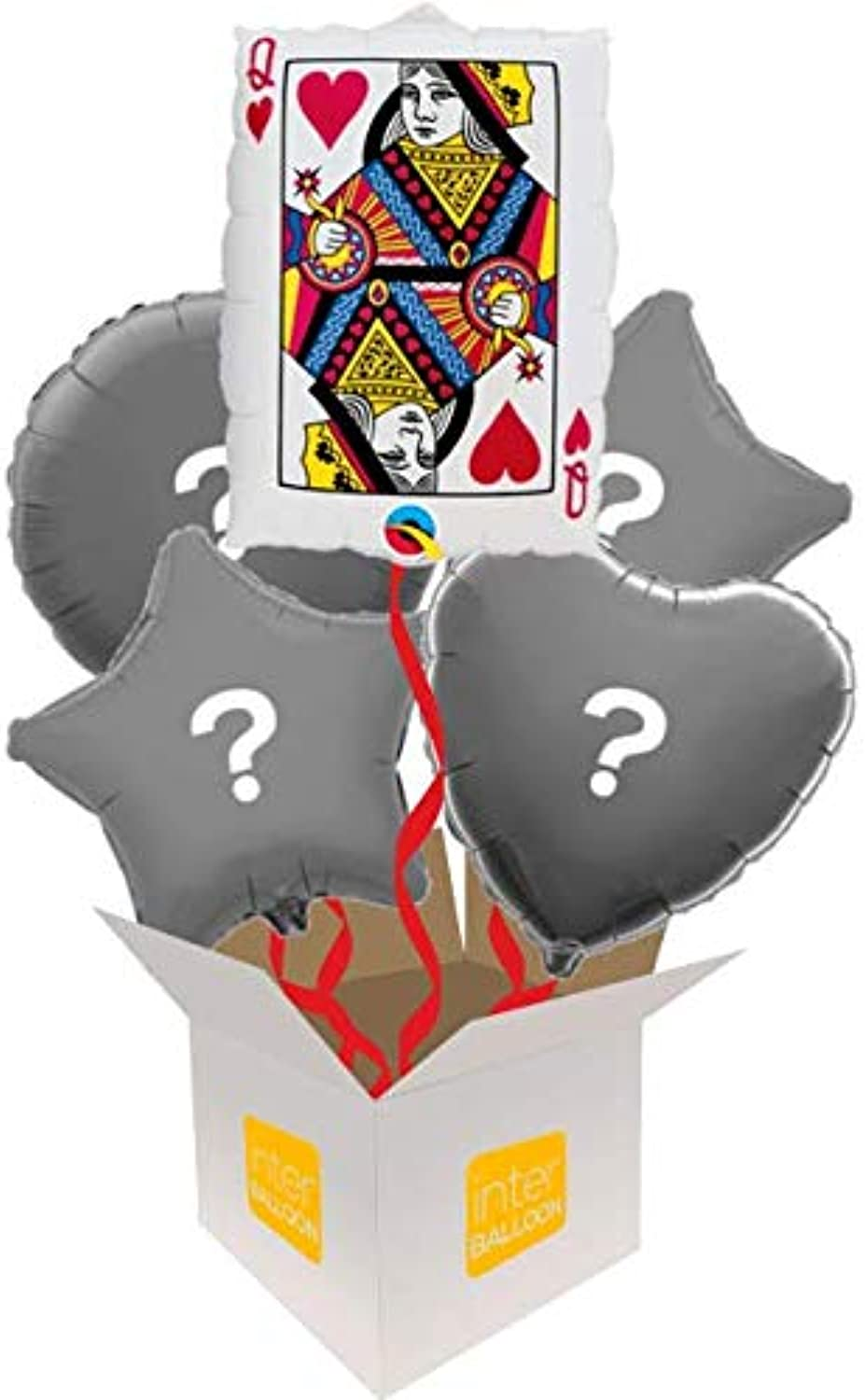 InterBalloon Helium Inflated 30  Queen of Hearts Balloon Delivered in a Box with 4 Extra Balloons of your choice