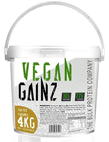 The Bulk Protein Company, Vegan Gainz Powder Plant Based Weight Gainer, Golden, Salted Caramel, 4 kg