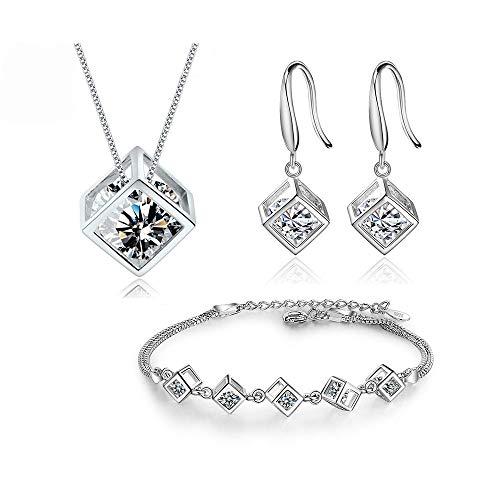 XKMY Joyería para mujer 5 estilos de plata de ley 925 conjuntos de joyas de circonio cuadrado cubo+pendientes+pulsera para regalo de mujer (color de la gema: pendientes de gancho ancho)