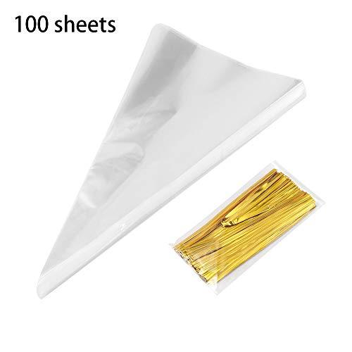 TiooDre 100Pcs Triangolo Sacchetto di caramelle trasparente, Cono Cellophane Borse Trasparente Triangolo Treat Borse regalo fai da te per caramelle Dolci Biscotti Serpenti