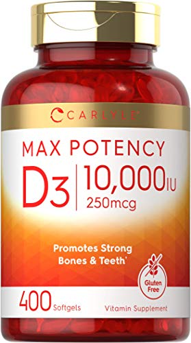 Vitamin D 10000 IU 400 Softgels   Value Size   Max Potency   Promotes Strong Bones and Teeth   Non-GMO, Gluten Free Supplement   by Carlyle