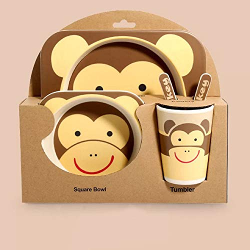5-Piece Bamboo Dinner Set for Children, Monkey Design - Kids Dinner Set Includes Round Bamboo Plate, Toddler Cutlery, Bamboo Bowl and Kids Cup - Eco Friendly, BPA Free and Dishwasher Safe