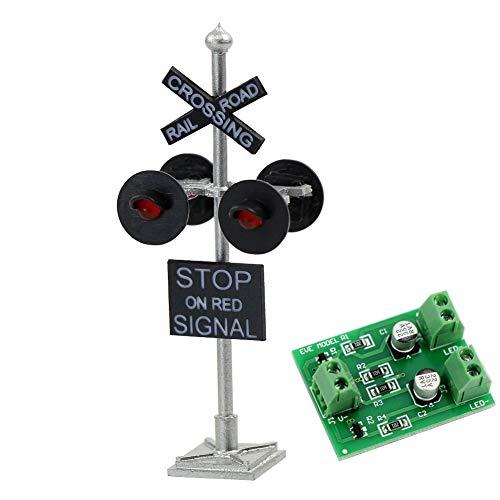 Evemodel JTD876RP 1 STK.Ampeln Überfahrt Signale Ausfahrsignal 4 Köpfe LEDs+Blinken Schaltung Tafel H0
