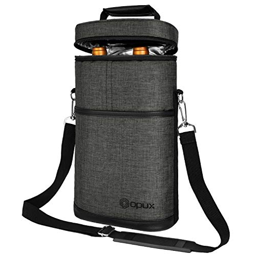 OPUX 2 Bottle Wine Tote Carrier | Insulated Wine Cooler Bag for Travel Picnic BYOB | Portable Wine Carrying Bag, Padded Protection, Shoulder Strap, Wine Gifts - Charcoal Grey