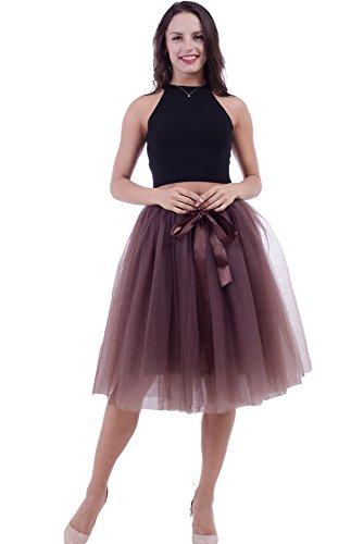 FOLOBE Falda de tutú de Las Mujeres Midi Tulle Faldas 7 Capas de Falda de Falda de Underskirt con...