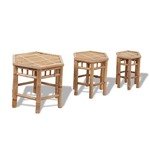 vidaXL Set de Taburetes Hexagonales Bambú 3 Piezas Asiento Exterior Interior