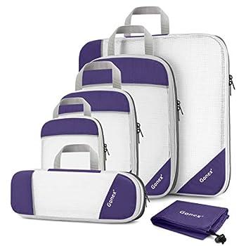 Gonex Sac Organisateur Rangement de Valise Bagage Sac Compression pour Voyage Maquillqage Vêtement Lot de 6 Violet