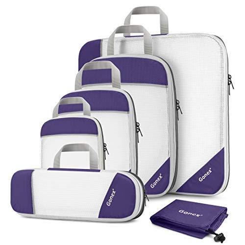 Gonex Organizador para Maletas Viaje Equipaje, Portatrajes Bolsas de Embalaje Almacenaje para Ropa Zapatos Cosméticos Cubos Ultraligeros Ahorro de Espacio Nylon Rip-Stop