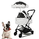DUTUI Foldable Lightweight Luxury Princess Pet Stroller, Small Split Nest for Dogs and Cats, Black and White Two Styles,White