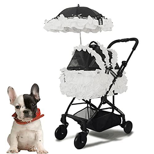 DUTUI Faltbarer Leichter Luxus-Prinzessin-Kinderwagen, Kleines Geteiltes Nest Für Hunde Und Katzen, Schwarz Und Weiß Zwei Stile,Weiß