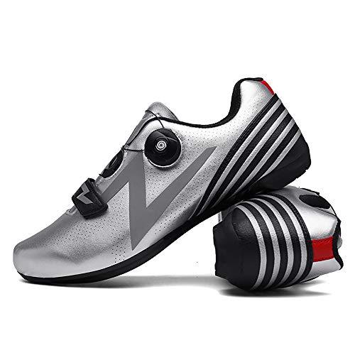 LU-Model Zapatillas de Ciclismo para Carretera Plus, con Suela de Carbono y Sistema rotativo de precisión. Silver-42