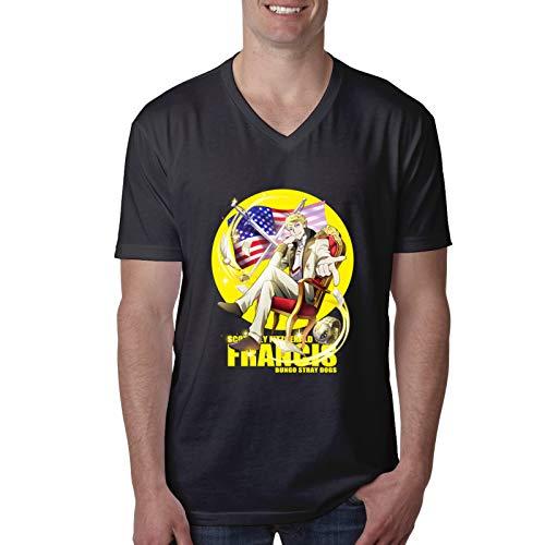Vdaras, maglietta a maniche corte da uomo, con scollo a V, Francis Scott Key Fitzgerald Bungou Stray Dogs Nero M