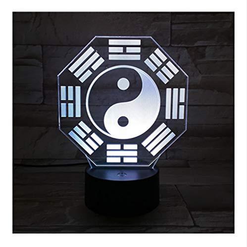 Ocho Trigramas Led Luz De Noche Sensor Táctil Rgb Lámpara Decorativa Niño Niños Cultura China Bagua Pa Kua Lámpara De Escritorio Cabecera
