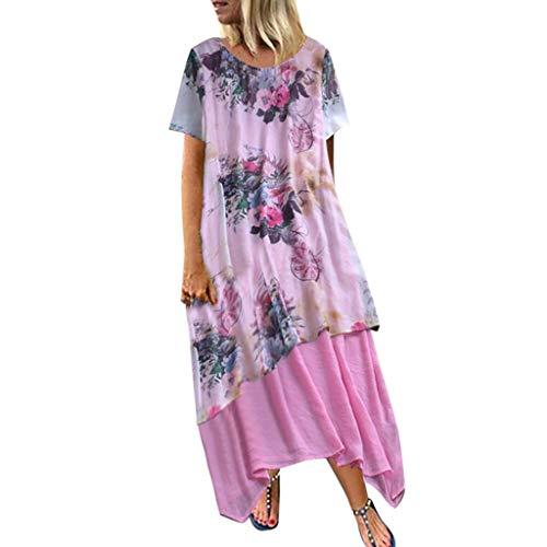 Auifor Dames Vintage Boho-Oanzet bloemenprint kant tweedelige jurk met 3/4 mouwen