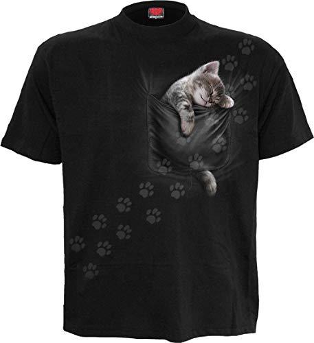 Spiral - Camiseta de bolsillo para gatito, impresión frontal, color negro -  Negro -  XX-Large