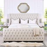 Jennifer Taylor Home Harmonie Tufted Panel Bed Headboard and Footboard Set, King, Light Beige Linen