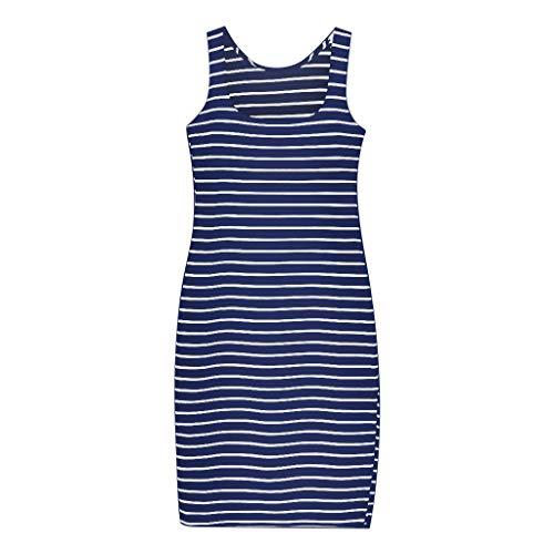 ReooLy Mini Vestido, Falda de Chaleco sin Mangas con Cuello en V y Estampado de Rayas Casual de Moda para Mujer(Azul,L)