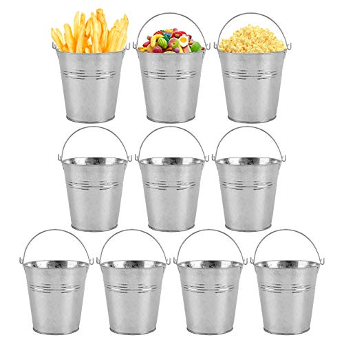 DIFIER 10 Pcs Galvanized Metal Buckets with Handle Mini Round Flower Pot Plant Basket for Small Plant and Candy Snack and Home Party Decoration