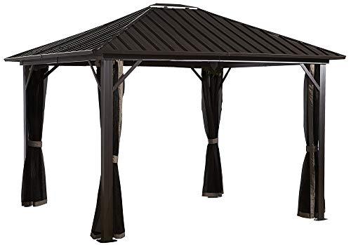 Sojag Genova Hardtop Gazebo 4-Season Outdoor Shelter with Mosquito Net, Black or Brown