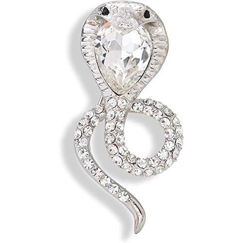 Broche de cobra de serpiente con diamantes de imitación de cristal vintage, cárdigan, sombrero, bufanda, tachuela, insignia