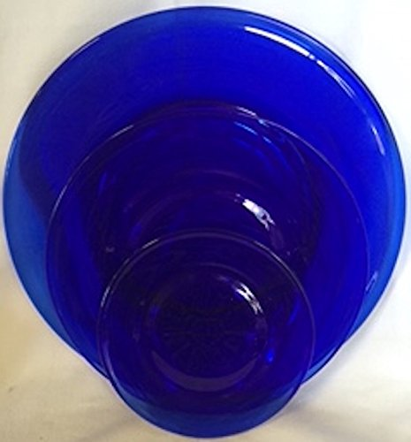 Set of 3 Plain & Simple Pattern - Bread/Salad/Dinner Plate - Mosser Glass (Cobalt Blue)