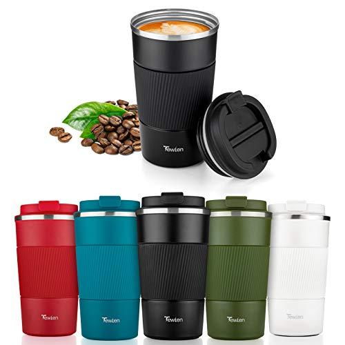 TEWLEN Reisebecher, Thermobecher Kaffeebecher to go mit Auslaufsicher Deckel - Edelstahl ohne BPA - Doppelwandig Isolierbecher Kaffeetasse Travel Mug für Heiße und Kalte Getränke Kaffee Tee