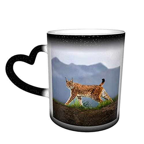 maichengxuan Taza de café unisex con diseño de animales Lynx personalizada, sensible al calor, color cambiante, taza de té de leche