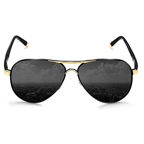ROCKNIGHT Aviator Sunglasses for Men Polarized UV Protection Metal Frame Flat Top Sunglasses Black Grey Lens Lightweight UV400 Sunglasses Outdoors