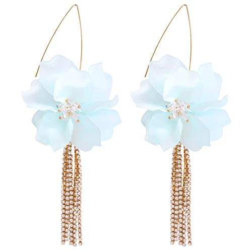 YAZILIND Simple Resin Flower Alloy Personality Earrings Long Retro Women's Ear Jewelry Rhinestone Fishhook Drop Earring(Cyan)