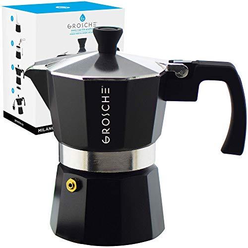 GROSCHE Milano Stovetop Espresso Maker Moka pot 1 espresso Cup - 1.5 fl oz, Black, Cuban Coffee Maker Stove top coffee maker Moka Italian espresso greca coffee maker brewer percolator