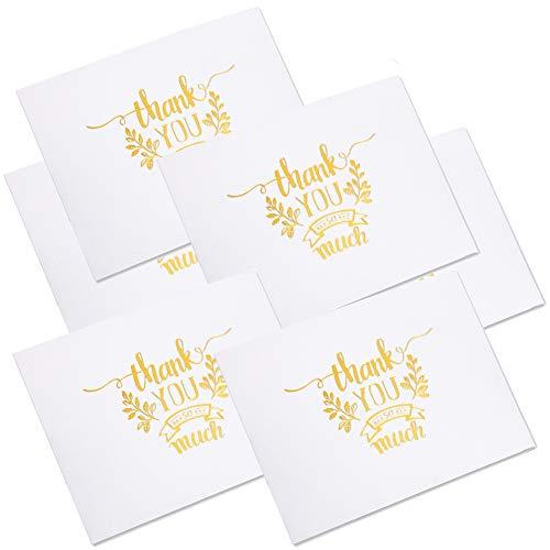 100 Stück Dankeskarten Gold Thank You Cards Kraftpapier Danke Grußkarten für Thanksgiving Day Hochzeit Brautparty, Geburtstag, Baby-Dusche, Jahrestag, Geschäft