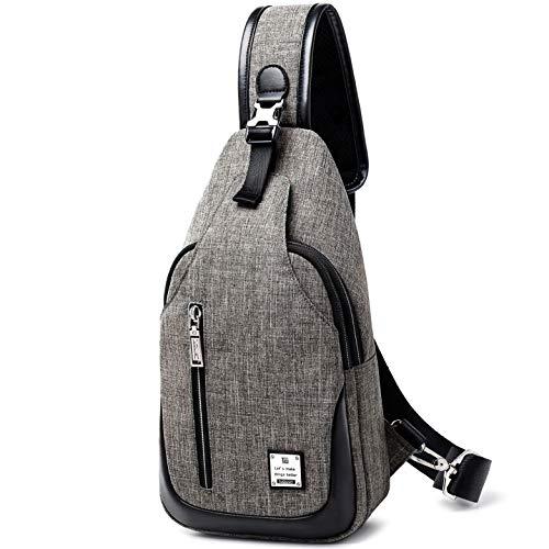 HASAGEI Brusttasche Sling Bag Schultertasche für Damen und Herren Crossbody Bag Umhängetasche Rucksack (Grau, S)