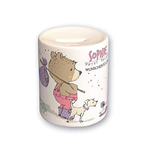 FEENSTAUB Kinder-Sparbüchse personalisiert mit Namen Geschenkideen für Schultüte Spardose Bär