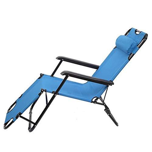 XFGG Portátil de Doble propósito Extensible Silla reclinable Plegable, Azul al Aire Libre Silla de jardín (Color : Blue Chair)