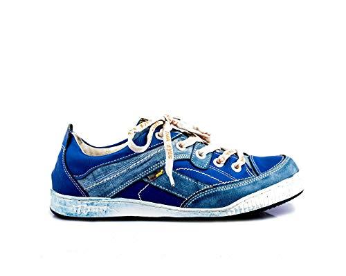 TMA 4199 Herren Halbschuh Sneaker Schnürschuh Leder blau alle Größen 41-46 EUR 44