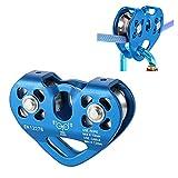 Slosy Polea Escalada Doble 30KN Azul con Rodamiento de Bolas Actividades al Aire Libre Rescate Rappel Tirolina Azul Equipo Seguridad Alpinismo Accesorios de Escalar Trabajos en Altura