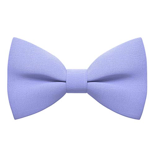 Linen Classic Pre-Tied Bow Tie Formal Solid Tuxedo, by Bow Tie House (Medium, Lavender)