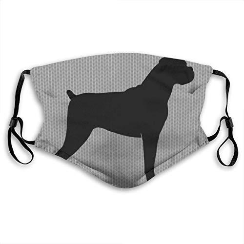 liusizheree Boxer Hund Silhouette Natural Ears Nose Clip Kermit Waschbarer Mundschutz mit Filtertasche with 6 Filters Multifunktionstuch Bandanas Unisex