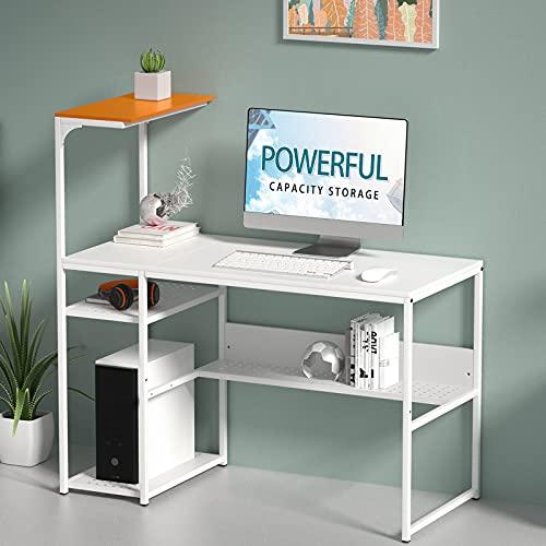 SINPAID - Scrivania per computer con 4 ripiani reversibili, grande da 119,4 cm, per casa, ufficio, portatile, studio, postazione di lavoro, scrivania moderna e semplice con libreria, colore: Arancione