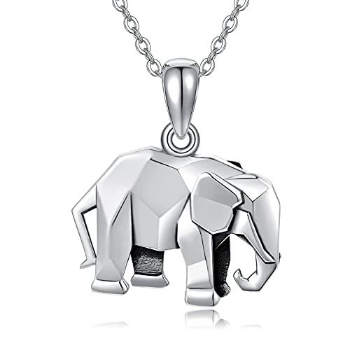 Elefant Kette Damen 925 Silber Elefanten Geschenke für Frauen Origami Elefanten Anhänger Halsketten Familie Schmuck für Mädchen Freunde Kinder Mutter Tochter