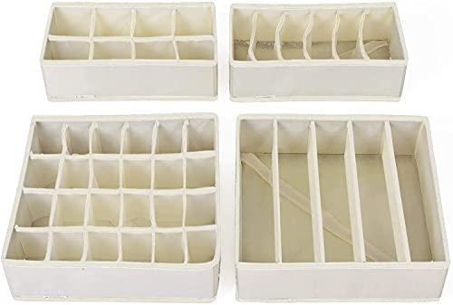 Onlyup 4 unidades de armario organizador cajones plegable caja de plástico para sujetadores, ropa interior, calcetines, corbatas, organizador Drawer Divider Cubes Container (blanco)