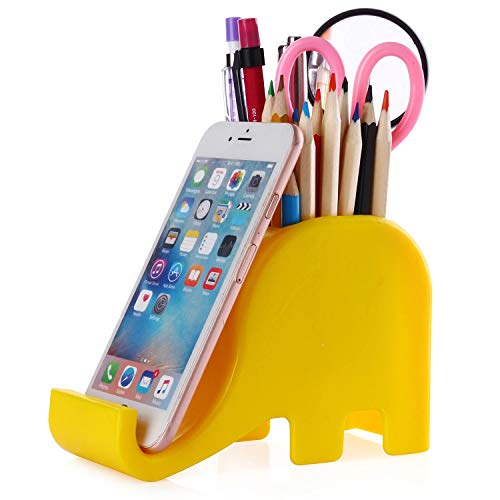 Pen Pencil Holder with Phone Stand, Coolbros Elephant Shaped Pen Container Cell Phone Stand Carving Brush Scissor Holder Desk Organizer Decoration for Office Desk Home Decorative (Yellow)