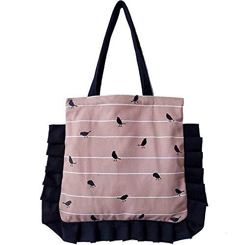 Handtasche Rosa Baumwolle Cavas Eco Einkaufstasche Umhängetasche Schwarz Plissee Trim Print Cuckoo Bird