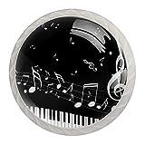 (4 piezas) pomos de cajón para cajón con tiradores de cristal para gabinete de gabinete con tornillos para el hogar, oficina, armario, llave de piano de 35 mm